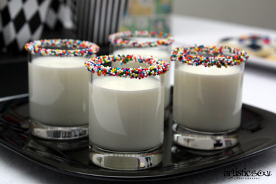 milk and sprinkles shot