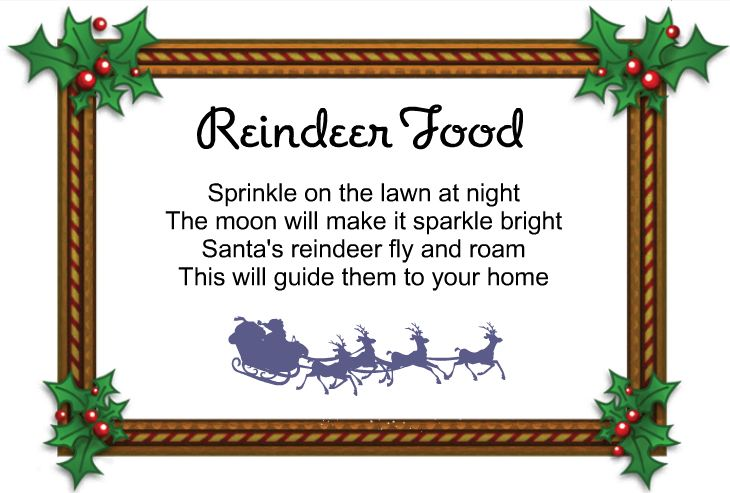 Reindeer Food Poem http://thatscountryliving.com/2011/12/how-to-make-reindeer-food-free-printable-reindeer-food-poem-tag/