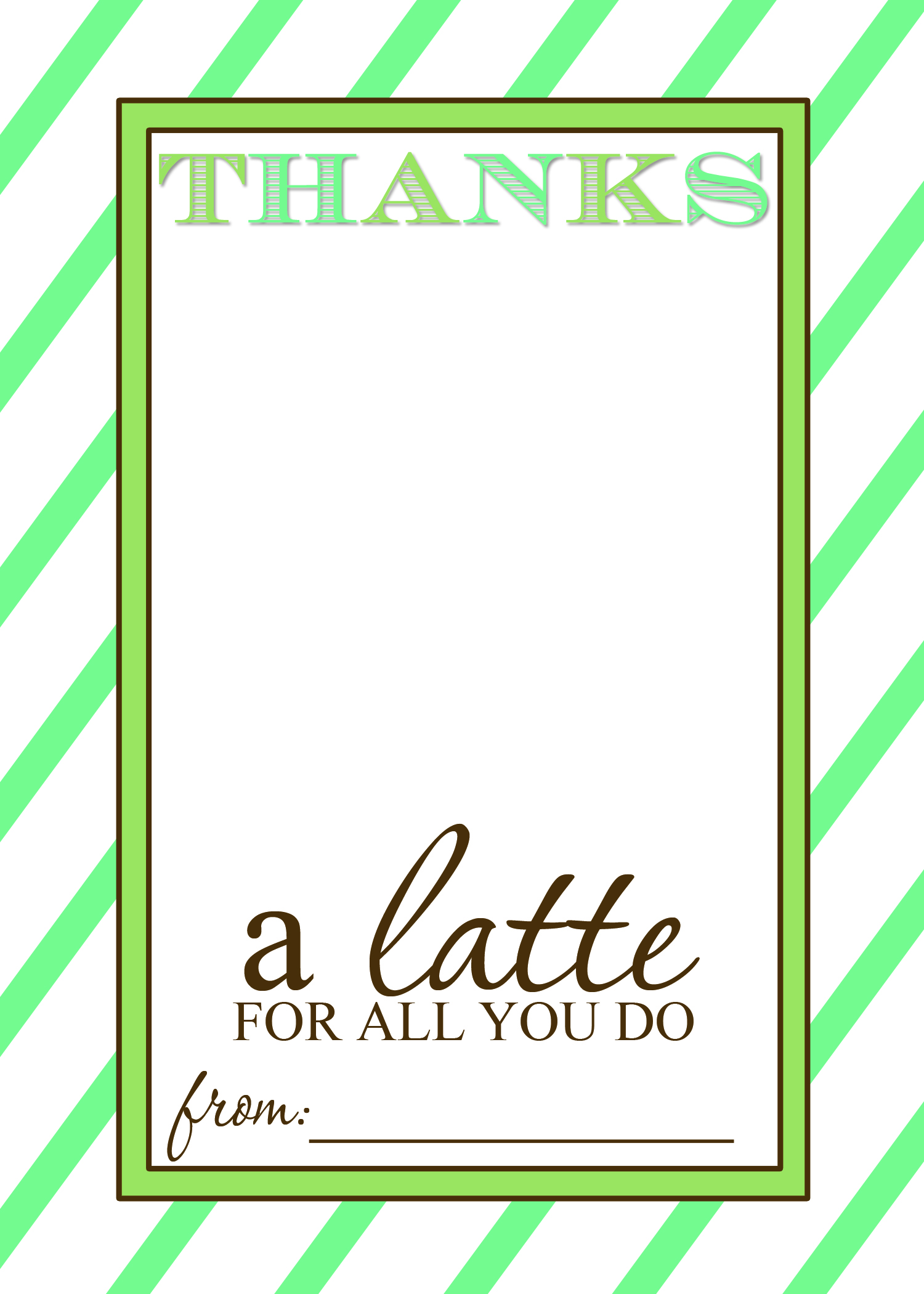 thanks a latte teacher appreciation gift idea with free printable card templates. Black Bedroom Furniture Sets. Home Design Ideas