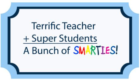 smarties teacher gift label