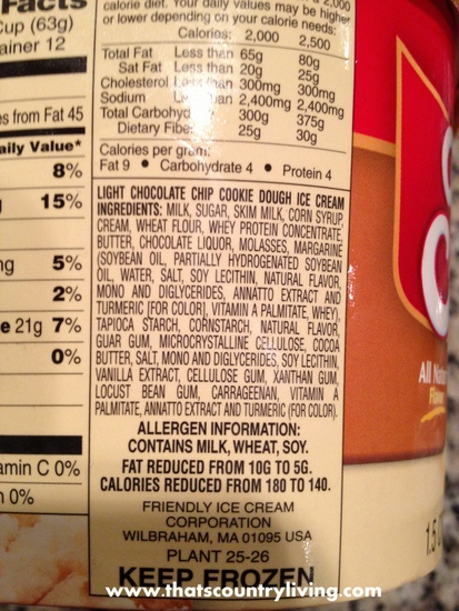friendlys ice cream nutrition label