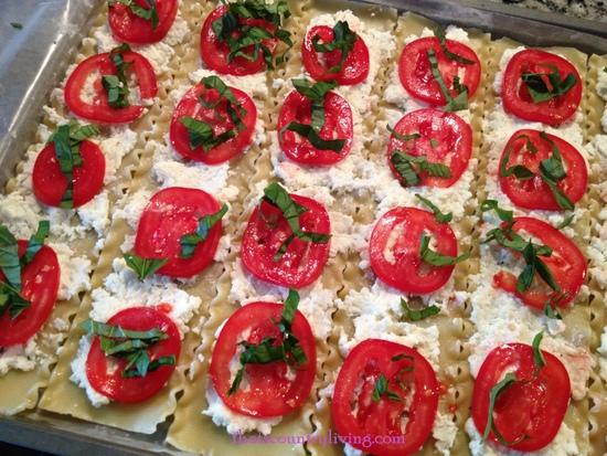 caprese lasagna roll ups before rolling